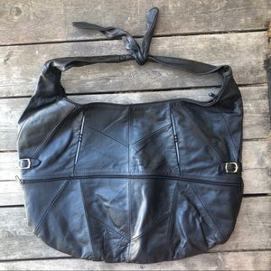 Huge vintage genuine leather shoulder bag